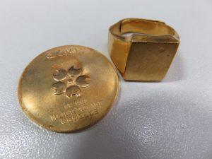 K18記念メダル 純金リングのお買取りをさせて頂きました。