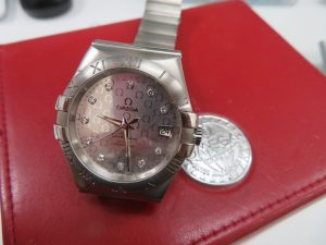 オメガ紳士腕時計をお持ち頂きました。